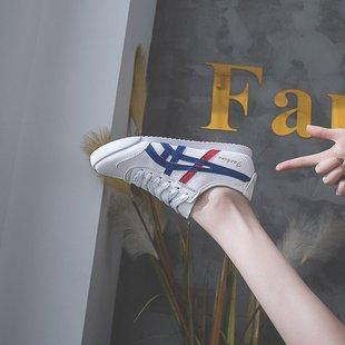 2019夏季新款低帮鞋女鞋平跟PU系带板鞋圆头2019年春季橡胶深口