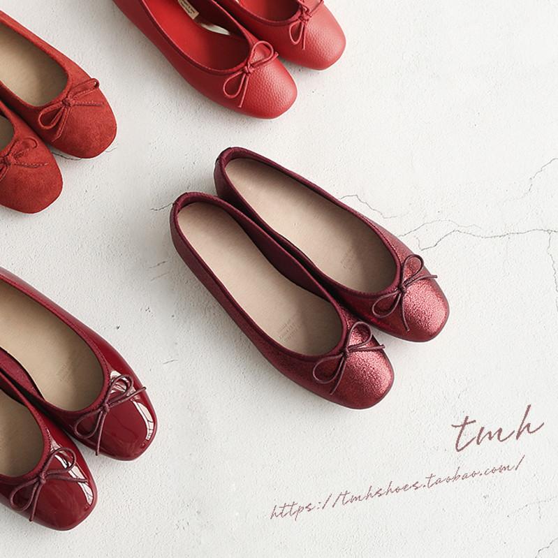 TMH自制2019秋冬新款 本命年红 芭蕾舞蝴蝶结 红色婚鞋平底女单鞋