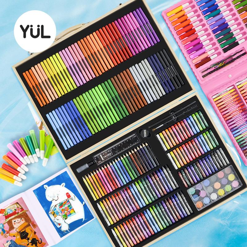 育良水彩笔套装安全可水洗儿童水彩画笔套装水溶性彩笔颜色笔幼儿园彩色笔美术学生蜡笔绘画套装画画工具礼品