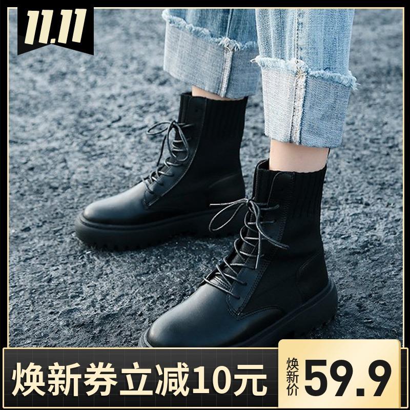 马丁靴女2019新款百搭春秋款单靴子帅气黑色英伦风机车靴厚底短靴