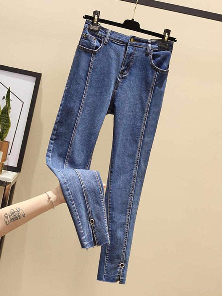 2019秋装新款胖妹妹大码女装适合胯大腿粗的裤子女宽松直筒牛仔裤
