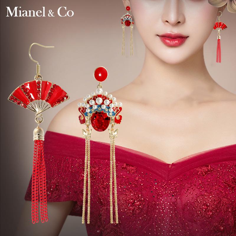 中国风气质耳环花旦脸谱耳钉长款流苏耳坠个性女耳饰品情人节礼物