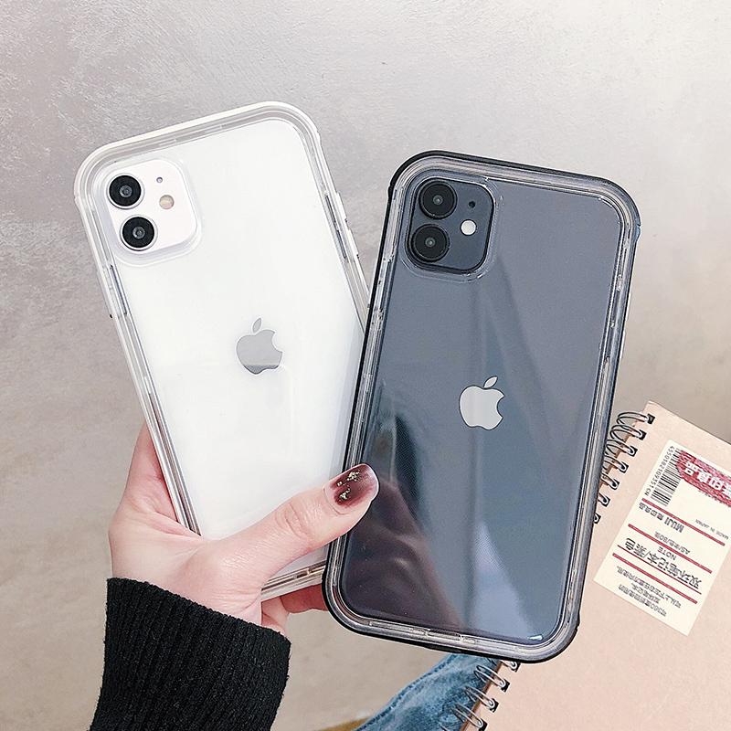 ins简约透明硅胶边框适用苹果11ProMax手机壳iPhoneX个性SE创意7plus网红iPhone11潮8plus硅胶XR全包保护套女