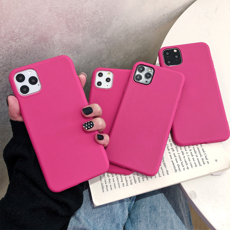 ins简约纯色梅子红苹果X手机壳iPhone11pro Max创意7plus硅胶XR软壳xs max个性8plus潮牌iphoneX网红6s男女款