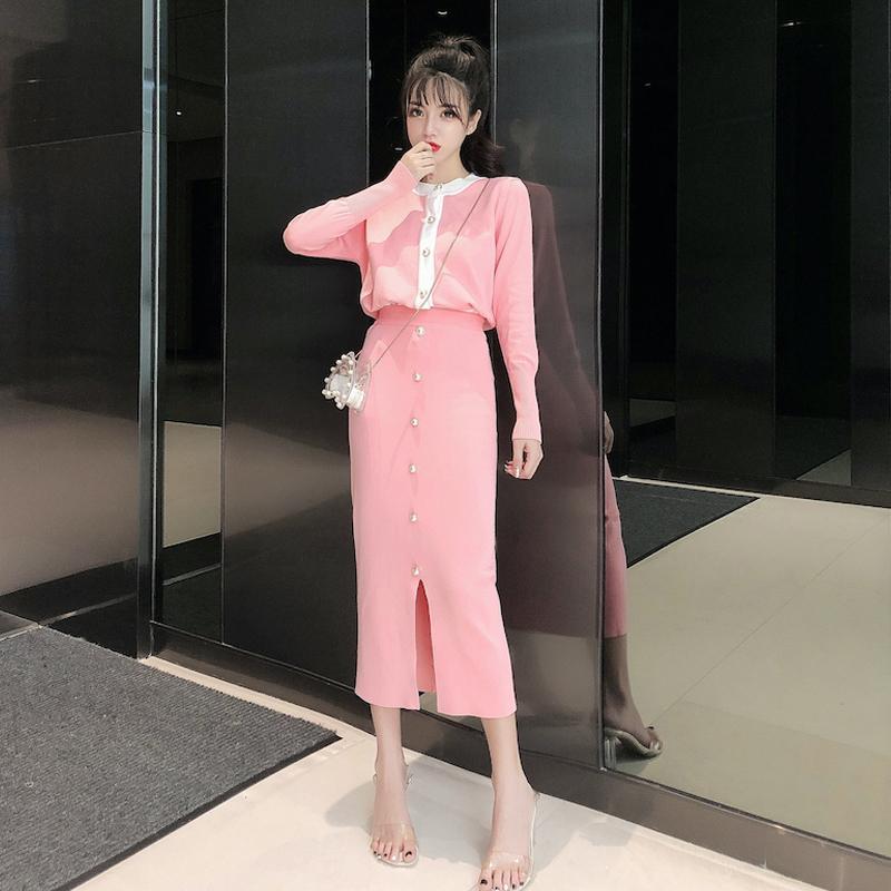洋气小香风针织套装长袖秋装2019流行气质毛衣开衫包臀裙子两件套满6元减5元