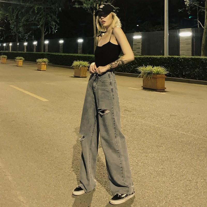 破洞拖地牛仔裤女2020夏季薄款宽松高腰直筒垂感cec阔腿泫雅裤子