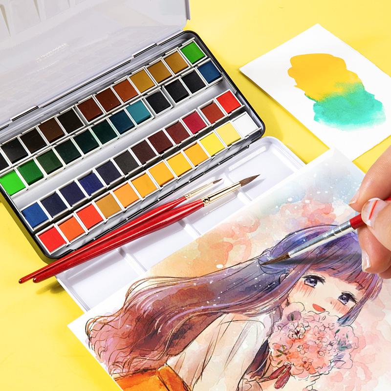 柏伦斯24色铁盒水彩颜料固体水彩颜料美术绘画专业便携水彩48色初学者专用分装水彩36色水粉颜料水彩固体颜料