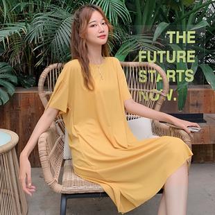 夏日可外穿百搭宽松型简约清新纯色文艺优雅连衣裙收腰显瘦气质