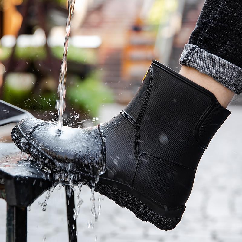 欧美时尚男雨鞋中筒雨靴防滑水鞋短筒加绒胶鞋厨房洗车钓鱼工作鞋
