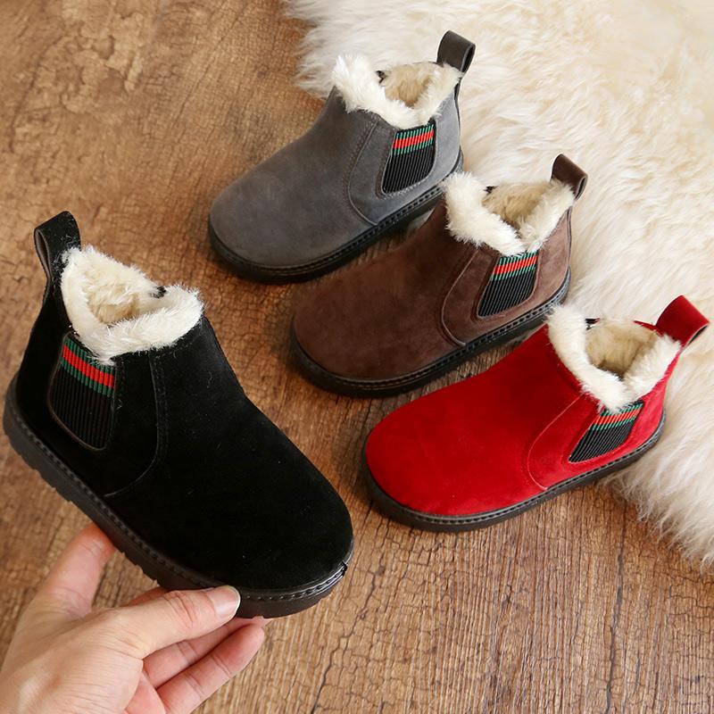 男童女童马丁靴秋冬季儿童靴子棉鞋女宝宝小童短靴加绒加厚雪地靴