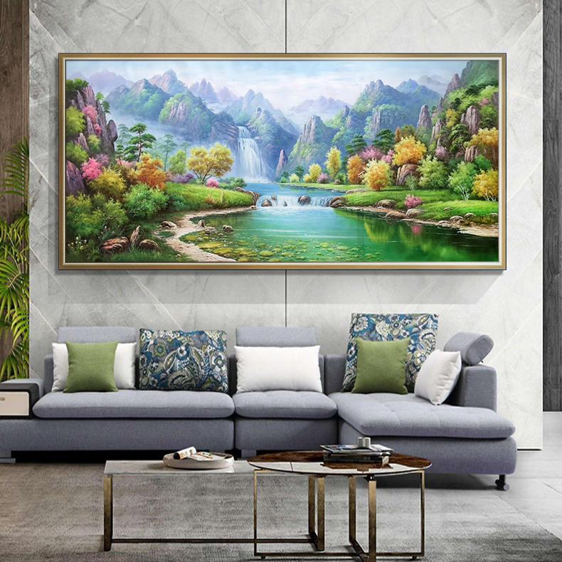 手工山水风景画壁画欧式手绘油画客厅装饰沙发背景墙高山流水挂画