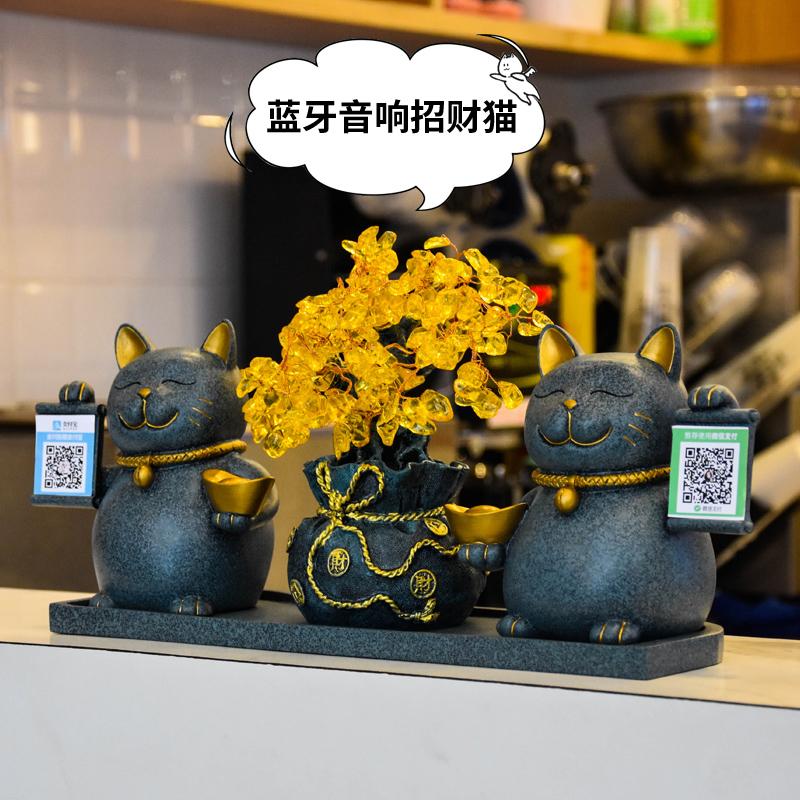 创意招财猫摆件送店铺开业礼品金色装饰个性收银台礼物定制二维码