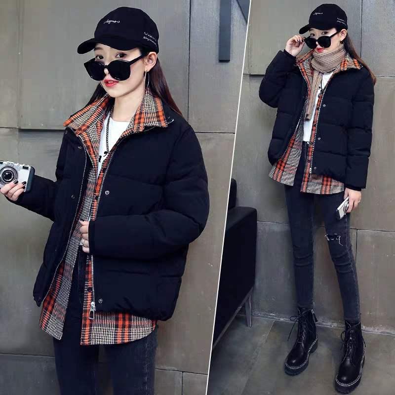 假两件羽绒棉衣棉服女装冬装2019新款韩版宽松棉袄短款外套ins潮