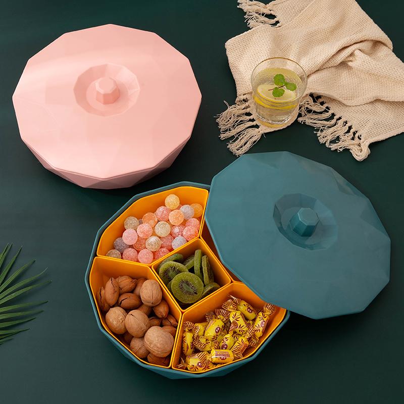 家用带盖果盘分格仿瓷干果盒糖果盒北欧干果盘坚果客厅零食收纳盒