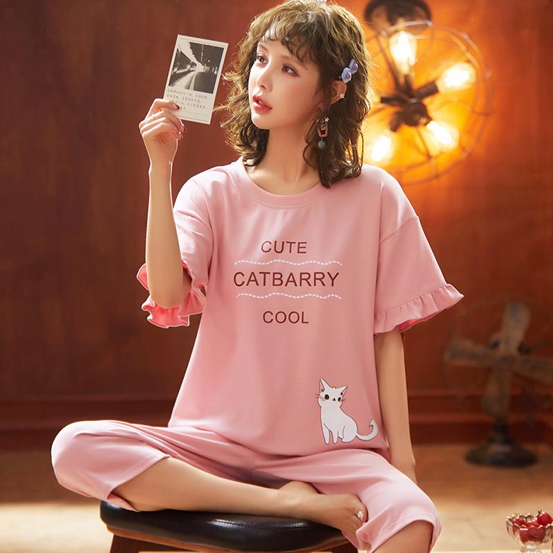 2020夏季新款少女针织棉跑量睡衣短袖七分裤甜美套装家居服可外穿