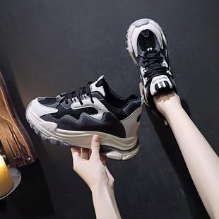 内增高女鞋8cm增高2020新款老爹鞋女秋季透气坡跟厚底百搭休闲鞋图片