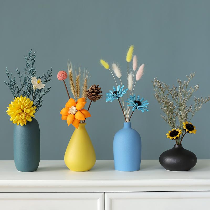 北欧风陶瓷小花瓶摆件客厅插花创意简约电视柜餐桌干花轻奢装饰品