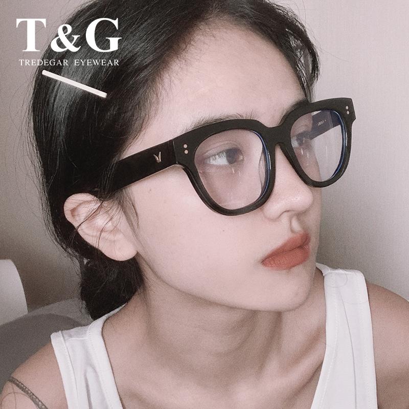 GM黑框眼镜框女防蓝光辐射平光镜大脸显瘦UNAC网红素颜护目近视镜