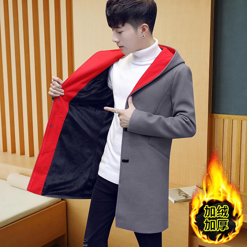 2017冬季新款呢子加绒加厚外套男士风衣春秋装修身中长款韩版男装