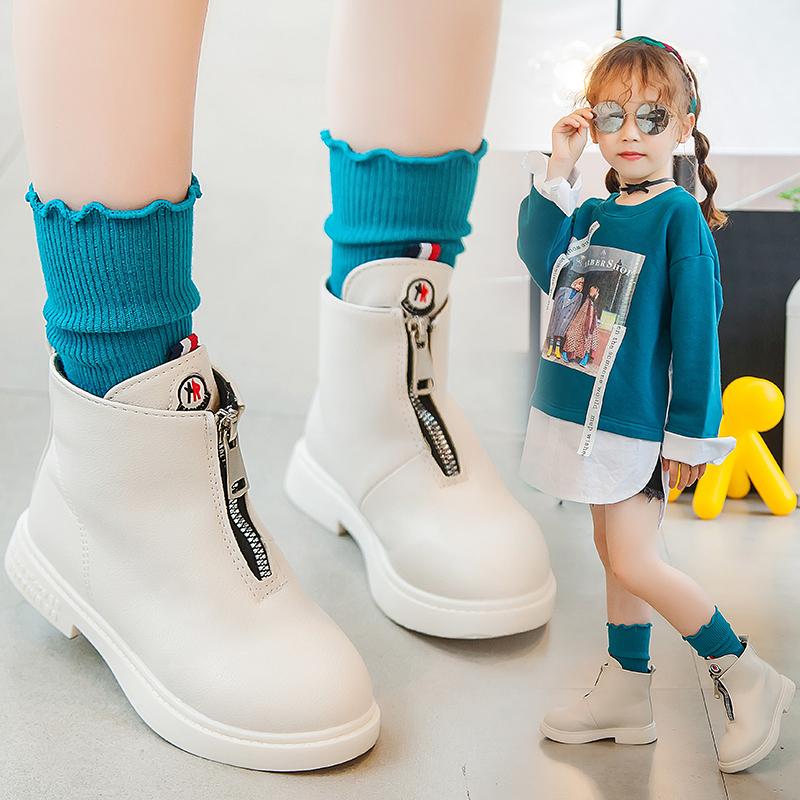 女童马丁靴2019年新款短靴子儿童鞋中大童英伦风短皮靴女孩靴子秋