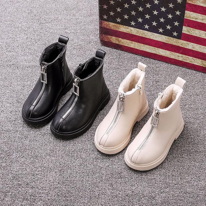 女童小短靴皮鞋洋气2019年新款靴子秋季儿童加绒二棉马丁靴秋冬款