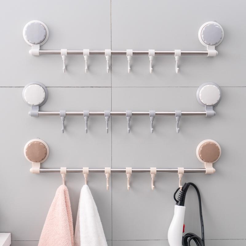[¥15.8]免打孔吸盘排钩卫生间浴室毛巾挂架门后承重挂衣钩厨房壁挂钩新品