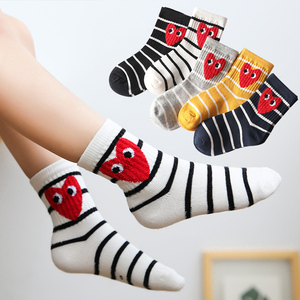 Children socks in tube tide socks boys and girls 3-5-9 years old autumn and winter small and middle-aged children sports love cotton socks Korean 5 pairs