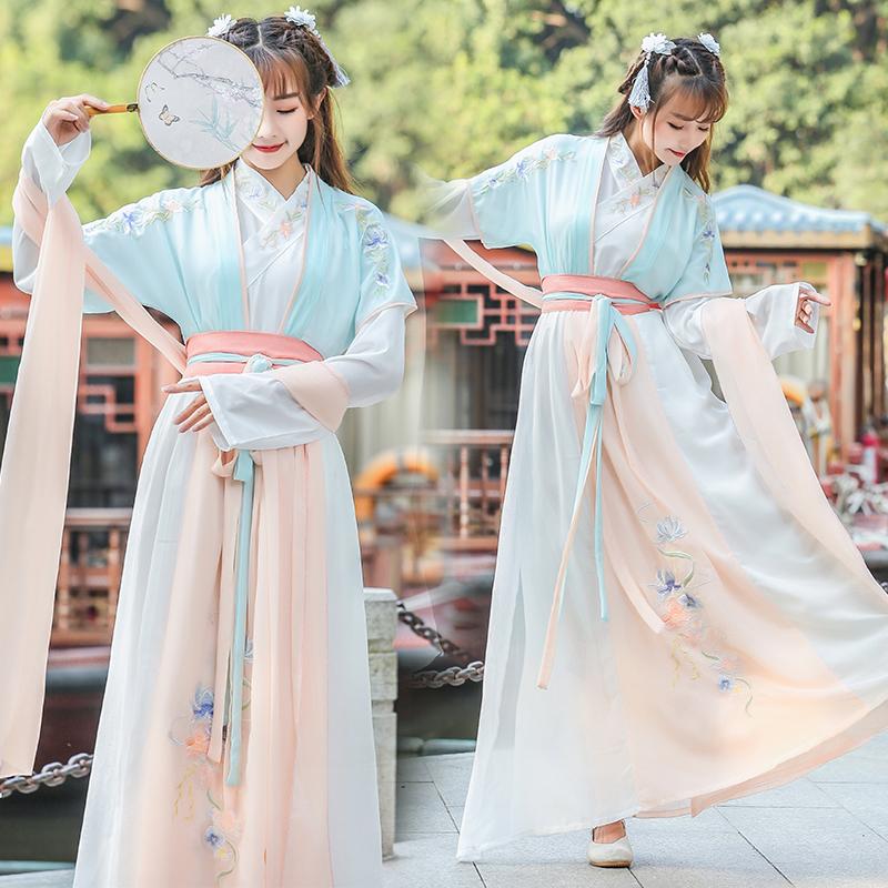 古装即将绝版汉服女日常仙女夏季仙气樱花中国风飘逸学生超仙齐腰