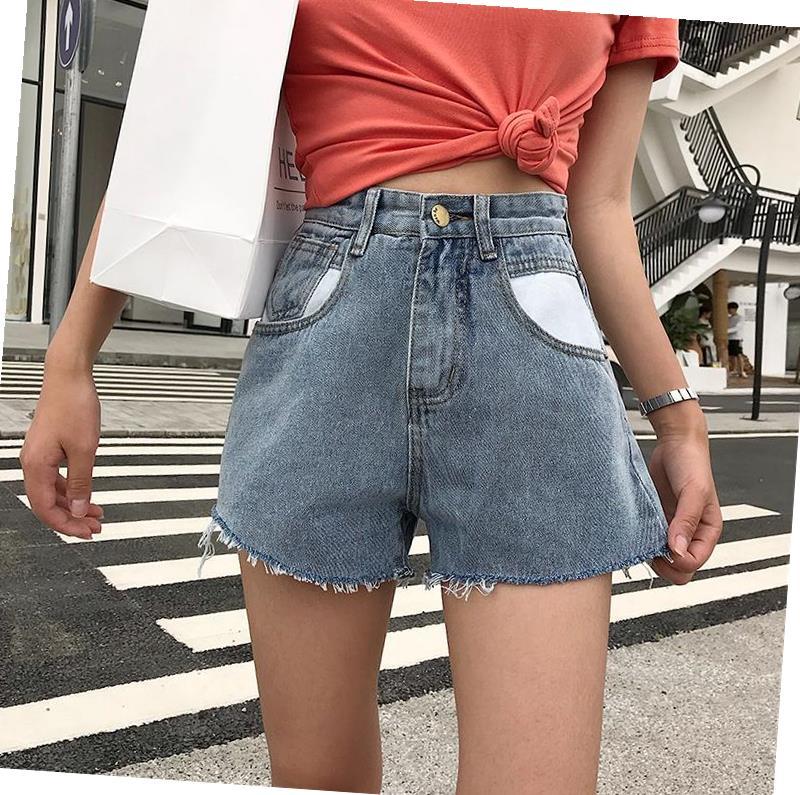2019二小月定制xxs码港味牛仔短裤小个子高腰显高宽松a字阔腿热裤