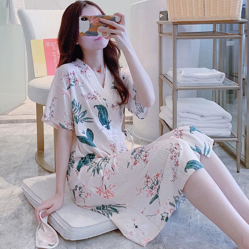 日系和服浴袍睡裙女士款夏季V领短袖日式中长款睡袍可爱薄款睡衣
