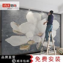 北歐手繪抽象白色花卉壁紙客廳電視背景壁畫藝術牆紙無縫定製牆布