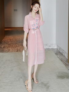2020 new women's spring sun protection clothing fairy beach pink chiffon dress temperament goddess fan clothes