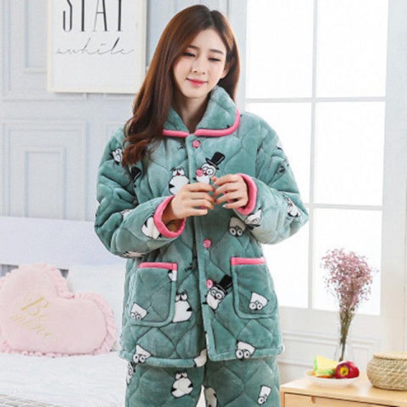 睡衣女冬季珊瑚绒加厚加绒三层夹棉睡衣法兰绒家居服甜美冬天棉袄