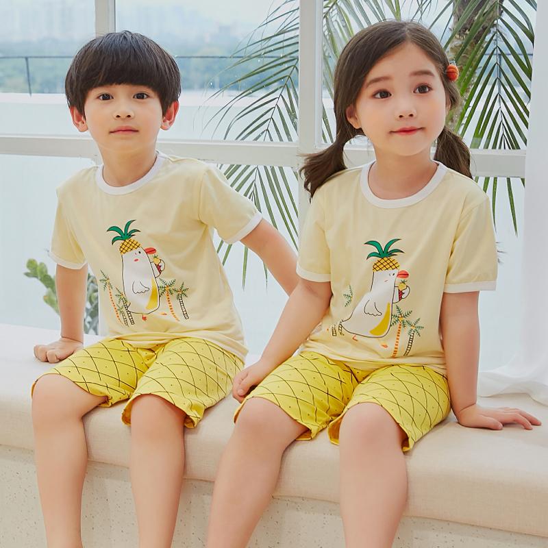 儿童夏季睡衣男女童纯棉半袖打底衫宝宝中小童薄款短袖家居服套装
