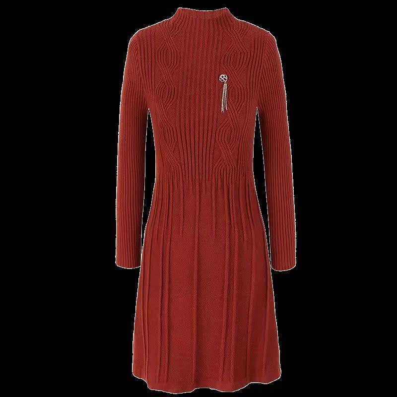 洋气妈妈秋冬装收腰毛衣裙中长款阔太太大码针织衫中年女装连衣裙
