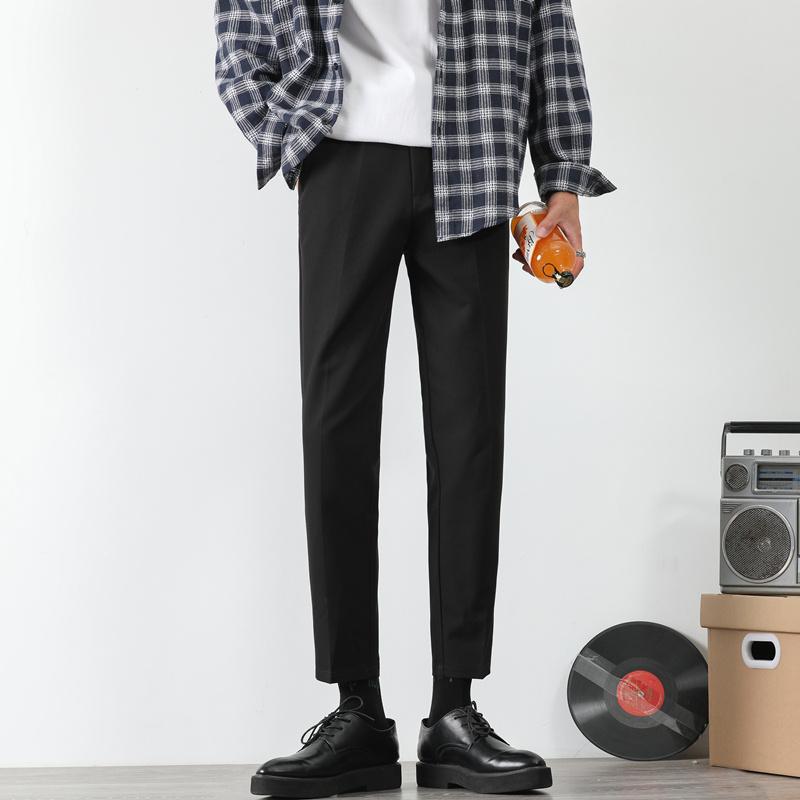 西装裤男直筒九分坠感小西裤休闲小脚裤子韩版潮流秋冬修身长裤