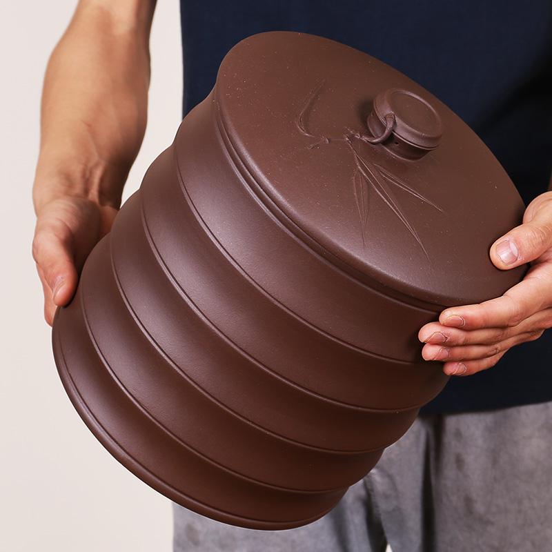 宜兴紫砂茶叶罐大号储茶七子饼普洱茶缸全手工密封醒茶罐竹节茶具