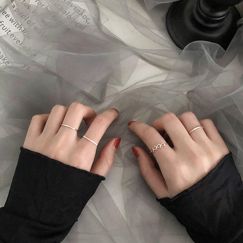 网红个性尾戒简约冷淡风戒指女ins潮珍珠食指戒时尚个性套装指环