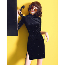 黑色丝绒旗袍dq3021年na长袖年轻式少女改良连衣裙(小)个子短式