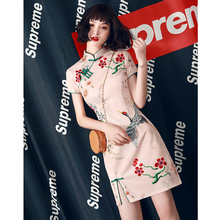 国潮旗袍2zh221年新po轻式少女改良复古炸街连衣裙(小)个子短式