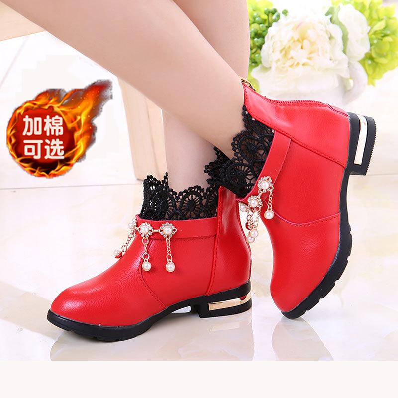 [¥59]公主鞋秋冬季儿童棉鞋女童小皮鞋女靴子大童秋鞋加绒保暖冬鞋加棉