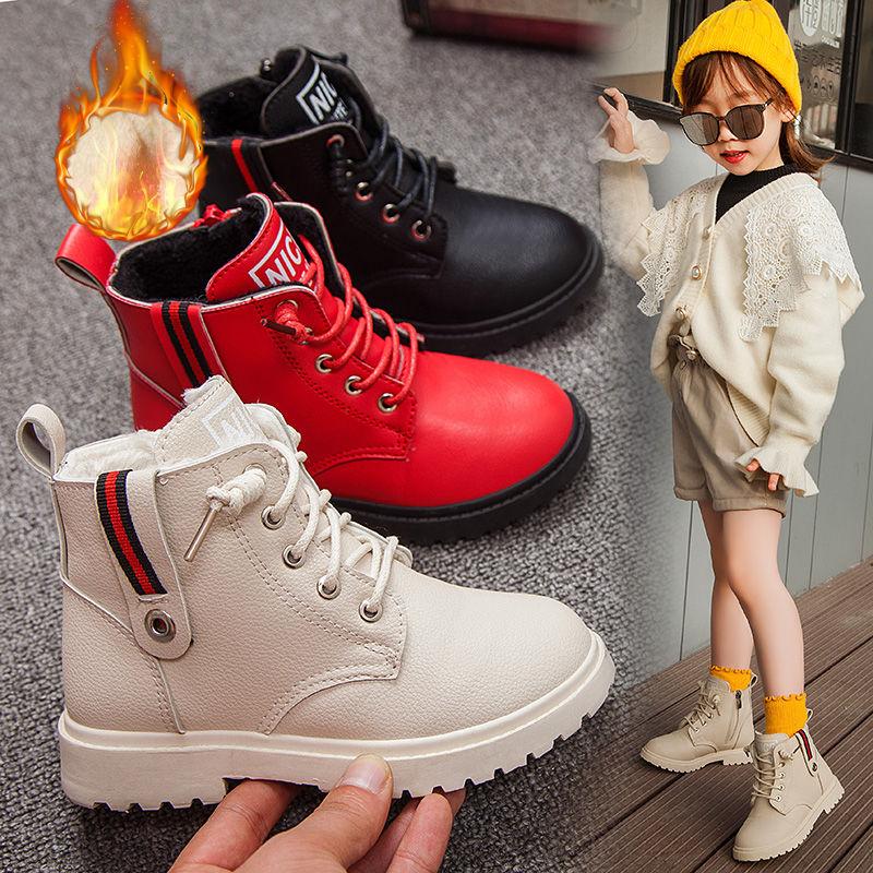 儿童马丁靴2019秋冬季女童靴子男童马丁靴加绒保暖冬靴公主学生靴