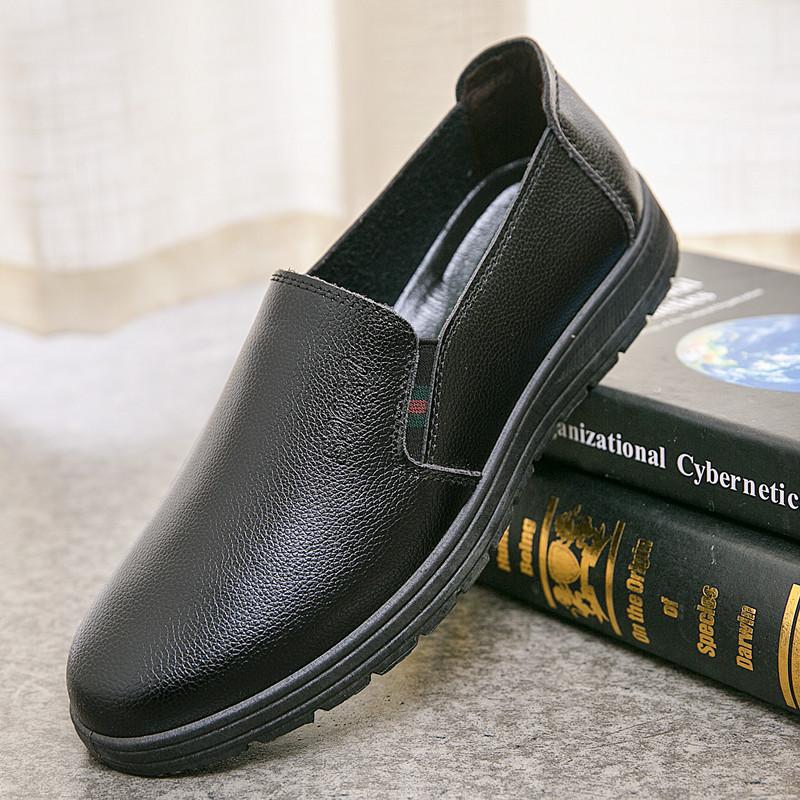 厨房防滑黑色休闲皮鞋男厨师专用鞋后厨上班工作鞋防水防油黑色鞋