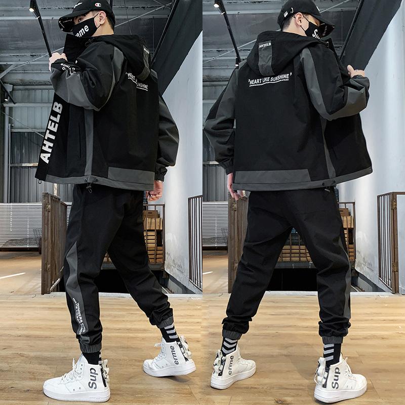 外套男士春秋季2020新款男装一套搭配痞帅气炸街潮流情侣夹克套装