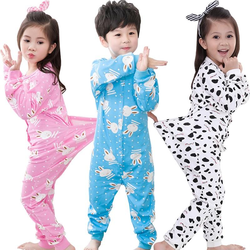 儿童连体衣2春秋3男孩4女童纯棉长袖大童家居服6岁防踢被宝宝睡衣