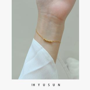 纯银手链女镀18k金简约个性ins潮小众设计转运珠气质百搭闺蜜礼物图片