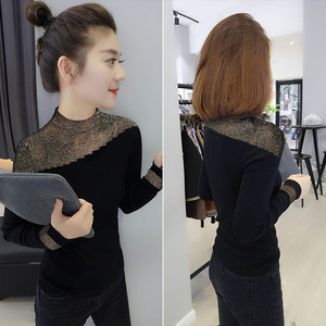European station winter women's clothing 2019 new European goods tide black body and mind machine base thin sweater sweater top