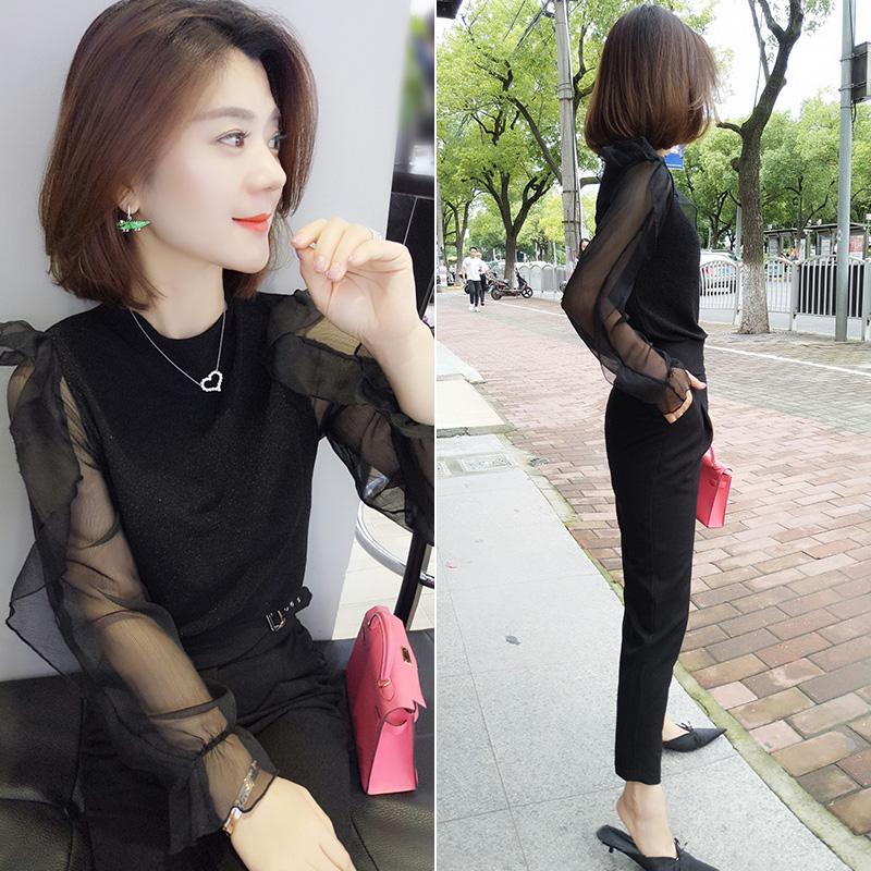欧洲站春季女装2020新款欧货潮时尚黑色气质百搭韩版雪纺衬衫上衣