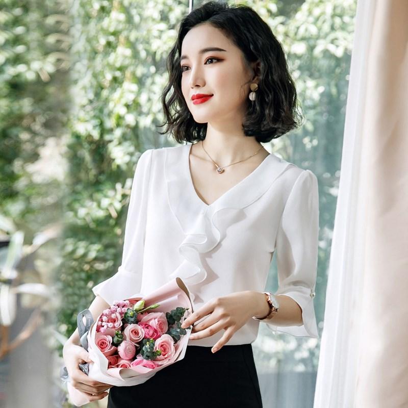 白色荷叶边衬衫女上衣短袖洋气宽松雪纺夏新款韩版职业衬衣工作服