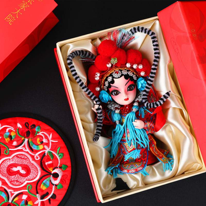 中国风特色小礼品送老外京剧人物脸谱北京纪念品绢人人偶娃娃摆件